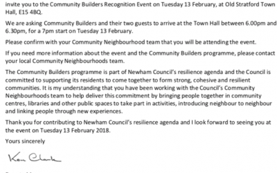 Recognised as a 'Community Builder' by Newham Council